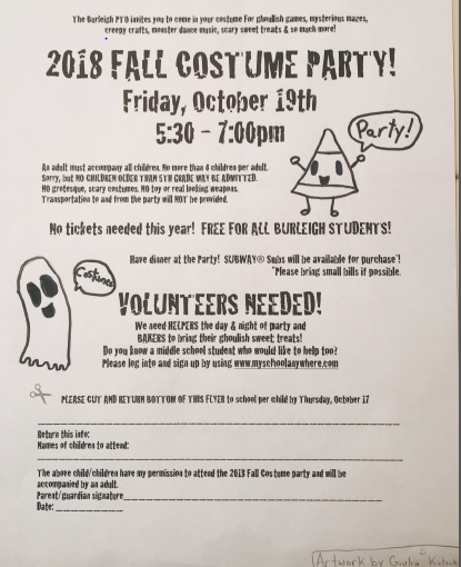 2018 fall costume party flyer