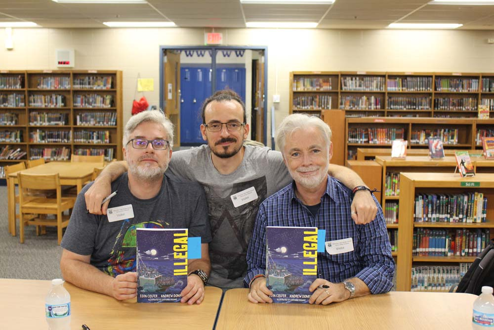 left to right: Andrew Donkin, Giovanni Rigano, and Eoin Colfer