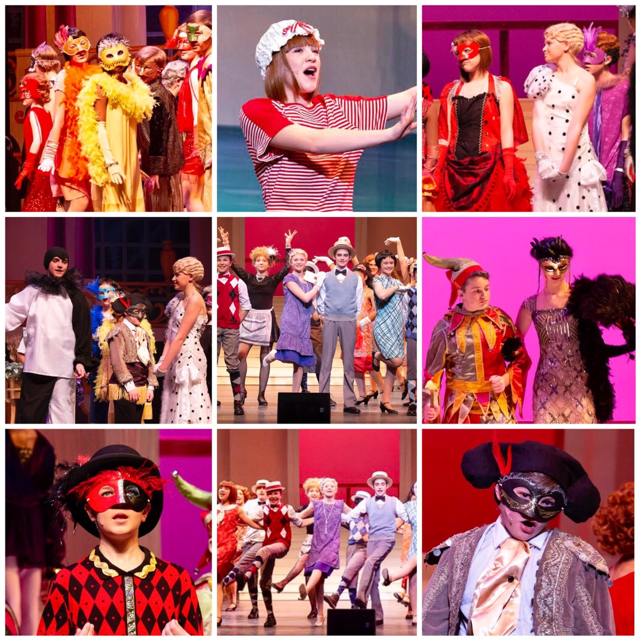 Collage of photos from The Boy Friend production
